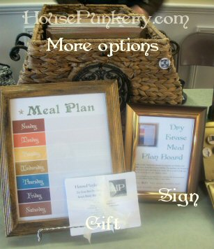 Meal plan board with the little index card recipes/gift, you can see my little sign. I remembered to actually fill it out with dry erase marker later.