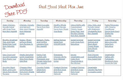 Download Free Printable PDF June Real Food Monthly Meal Plan from The More With Less Mom