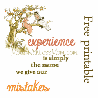 Experience is Simply the Name we Give our Mistakes free printable from The More With Less Mom