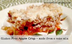 gluten free apple crisp made from a cake mix