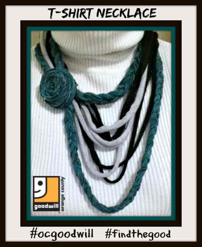 make a necklace from old t-shirts, recycle old t-shirts, DIY fashion, make your own necklace from old t-shirts, clever uses for old T-shirts