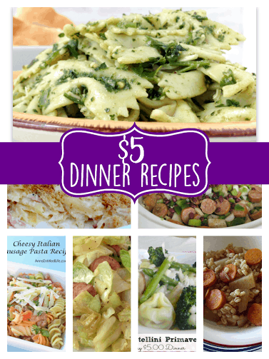 easy recipes for 5 Dollar Dinner Ideas for Menu Planning Monday, recipes for low cost meals, family dinner recipes for under $5, meal stretching cheap meals