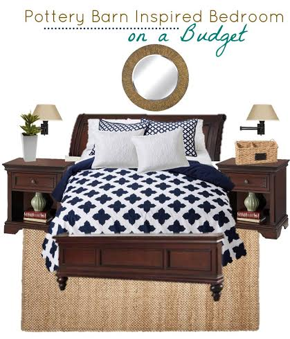 Pottery Barn Inspired Bedroom on a Budget Using Navy Blue