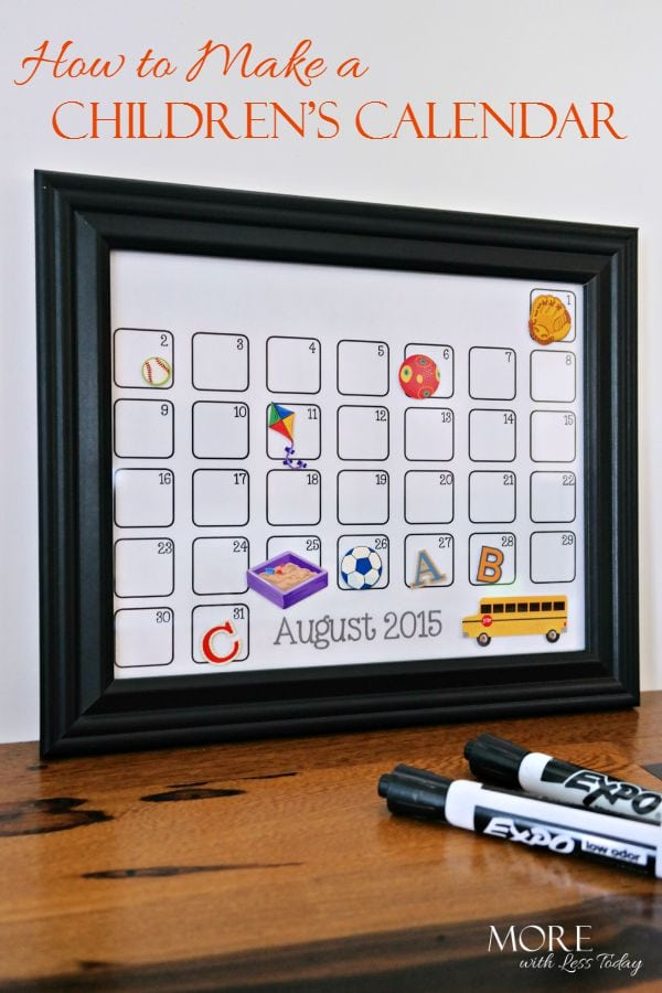Have little ones at home who cannot read? Make a Children's Calendar to help keep them in the loop with a children's calendar that is easy to understand.