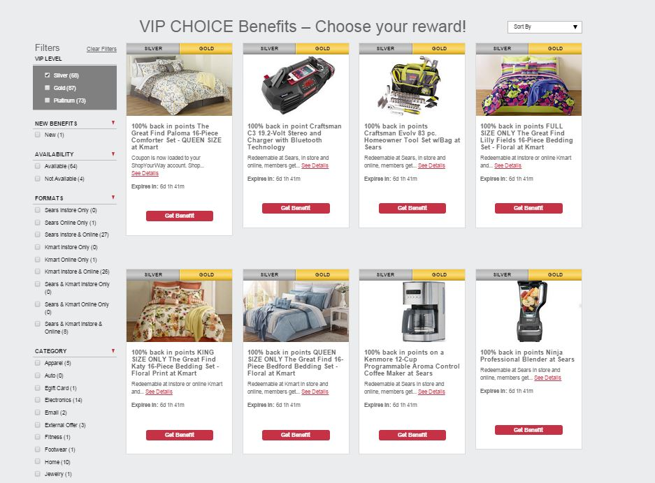 Shop Your Way VIP Quarterly Choice Benefits