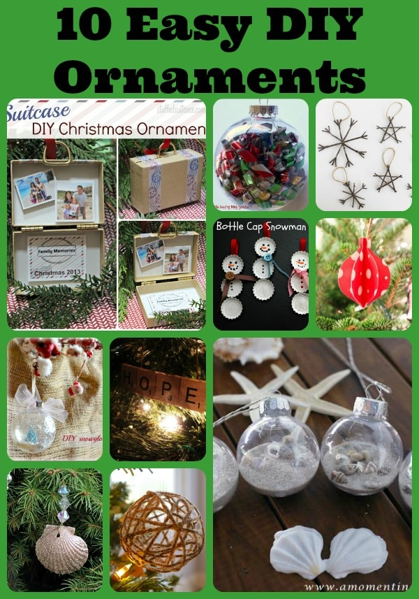 10 Easy DIY Ornaments - Handmade Christmas Decor. Follow the steps to make your own handmade Christmas ornaments to keep and to give.