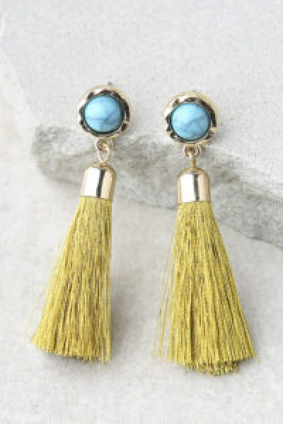 yellow and turquoise statement earrings