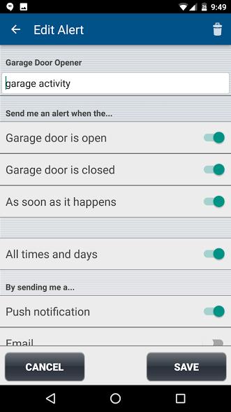 notification by phone when garage door is open