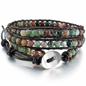 alloy-genuine-leather-bracelet-bangle-cuff-rope-bead-3-wrap-adjuastable