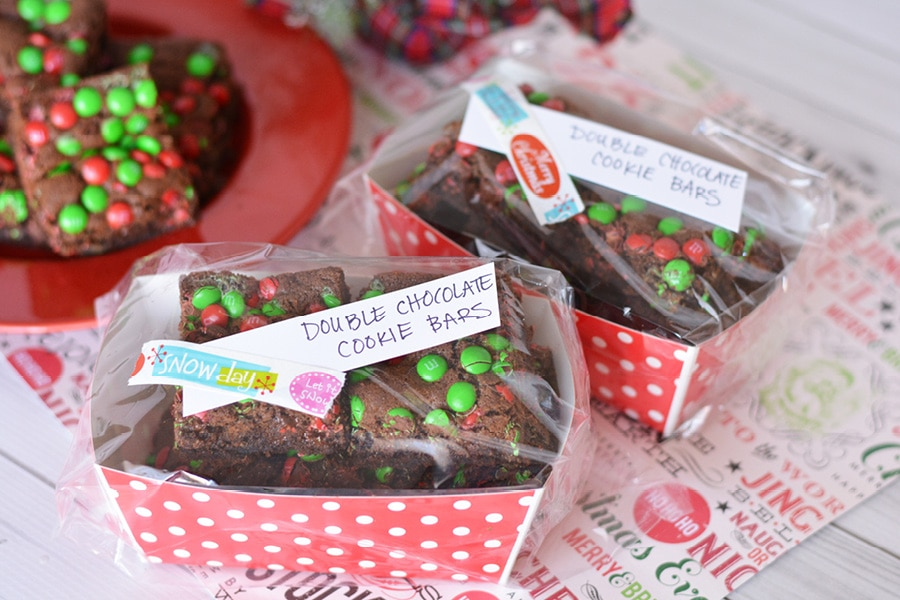 These Double Chocolate Cookie Bars are easy to make and perfect for your holiday cookie swap!