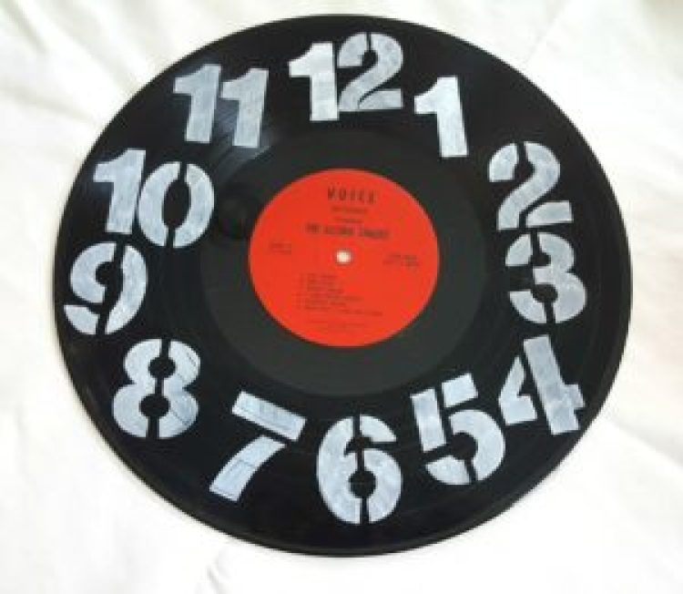 DIY clock made from a record