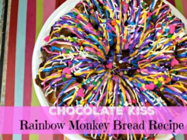 Are you a fan of monkey-bread? then you must try our Chocolate Kiss Rainbow Monkey Bread recipe made with biscuit dough for a tasty and colorful version.
