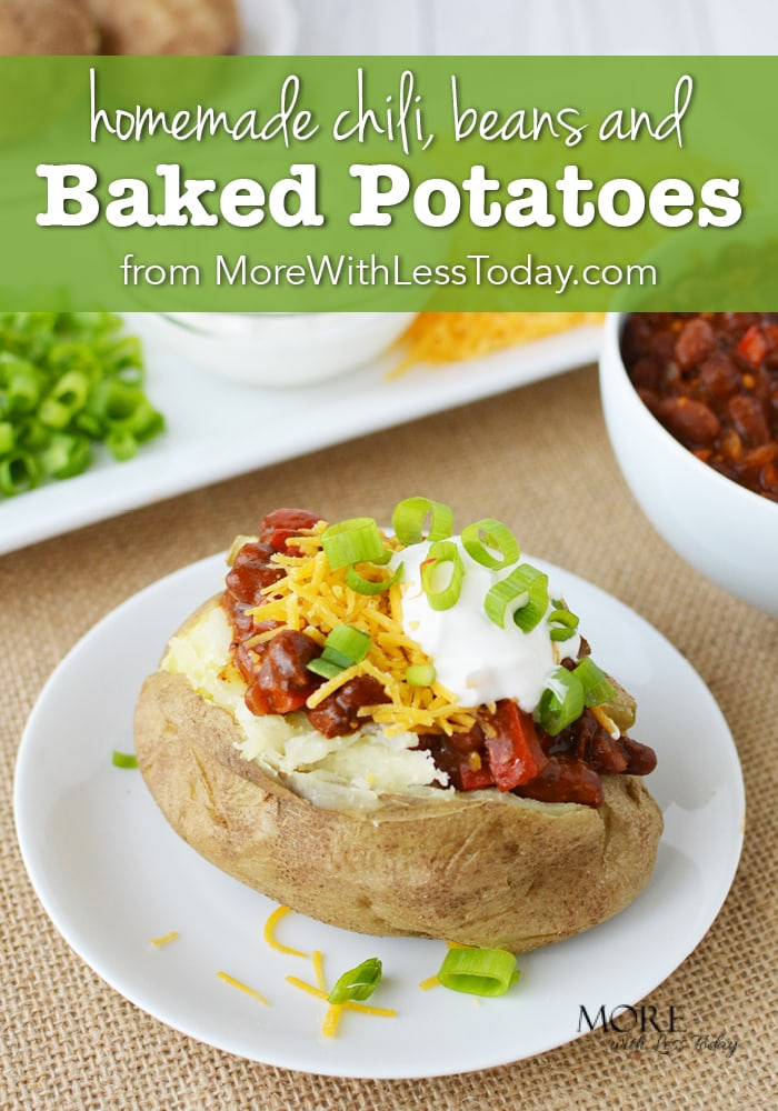 Kick off the football season by serving this Chili, Beans, and Baked Potato Recipe. Game Day Grub to feed a crowd that is easy and so filling!