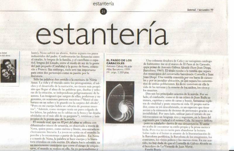 Crítica de Eusebi Boyés a El Paseo de los Caracoles. Revista Lateral