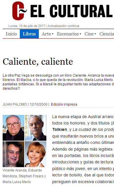 Reseña de Blanca Berasátegui (Juan Palomo) a la novela CALIENTE