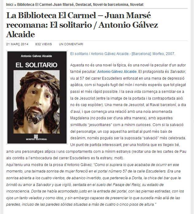 El solitario, como novela recomendada por la biblioteca El Carmel - Juan Marsé