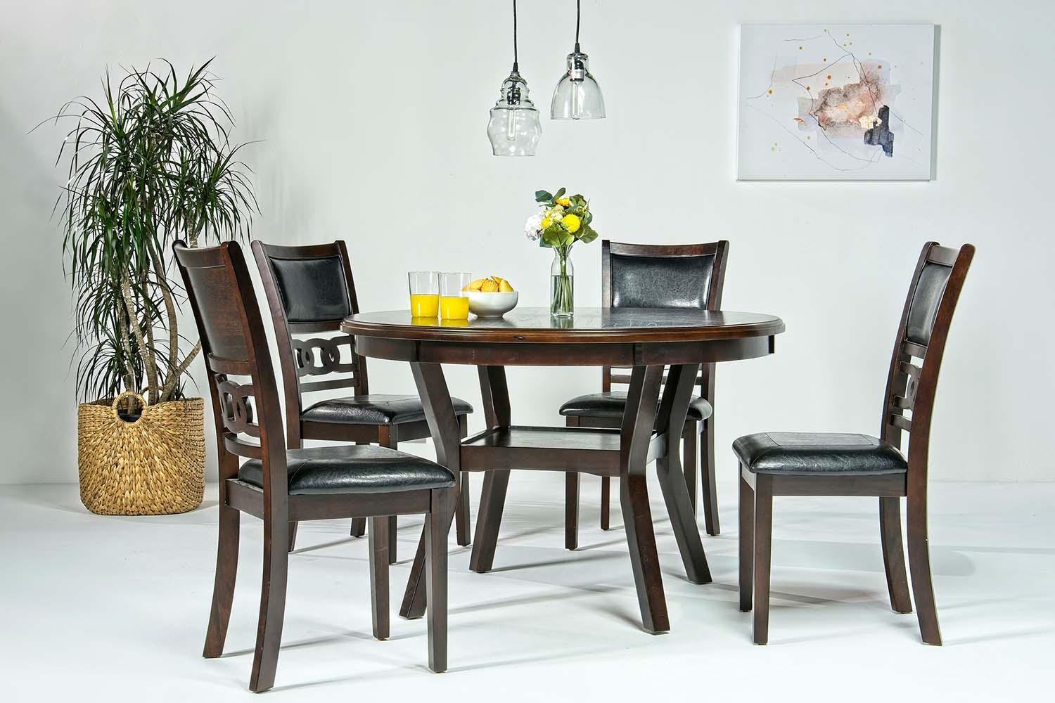 Gia Round Dining Table 4 Chairs In Dark Brown Mor Furniture