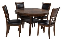 Gia Light Brown Round Table with 4 Chairs | Save Mor ...