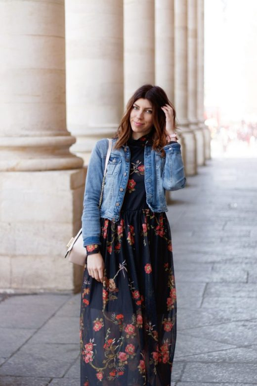 look mode robe longue fleurie