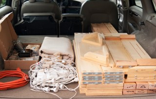 photo of booth parts all in the car