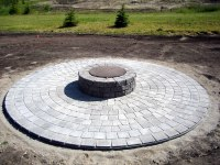 Basic Circle Patio and Firepit - Morgan K Landscapes