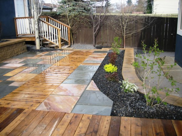 cedar decking inset with natural