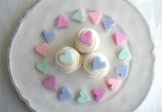 heart shaped food sugar cubes