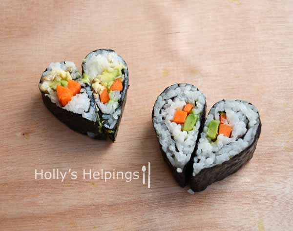 heart shaped food sushi
