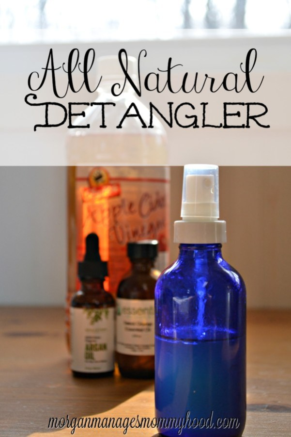 This DIY natural detangler contains none of the weird ingredients that are found in traditional detanglers. Use it after washing hair to help reduce tugging at tangles and frizz!