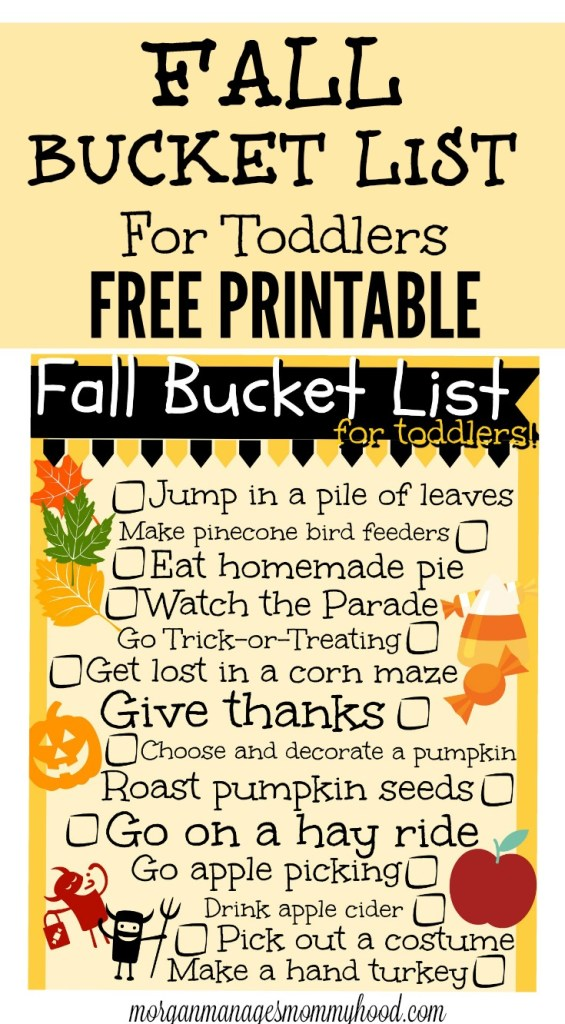 Fall Bucket List for Toddlers pin