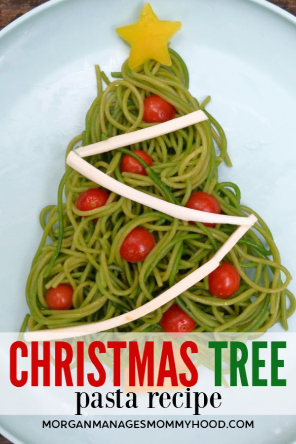 A PINABLE image with green spaghetti shaped into a christmas tree