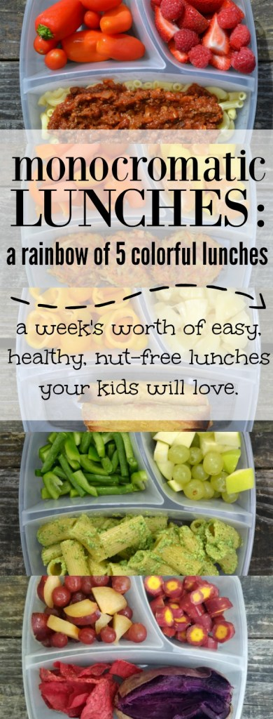 monocromatic lunches, color lunch, rainbow lunch, rainbow food, easy lunch, fun kid food, back to school lunch