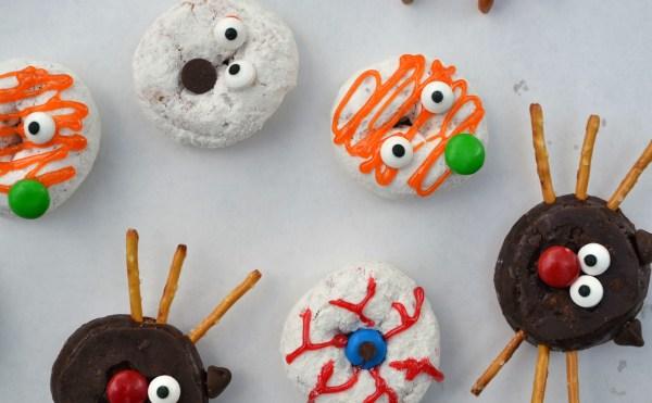 decorated donuts, halloween treats, halloween donuts, halloween dessert, easy dessert, easy snack, fun kid food, fun halloween food