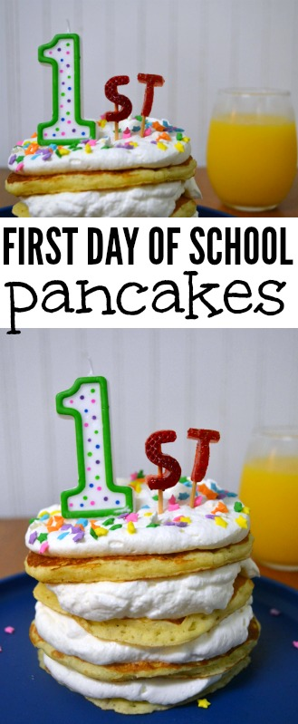 First Day of School Pancakes // back to school, easy breakfast, fun kid food, back to school tradition, first day of school