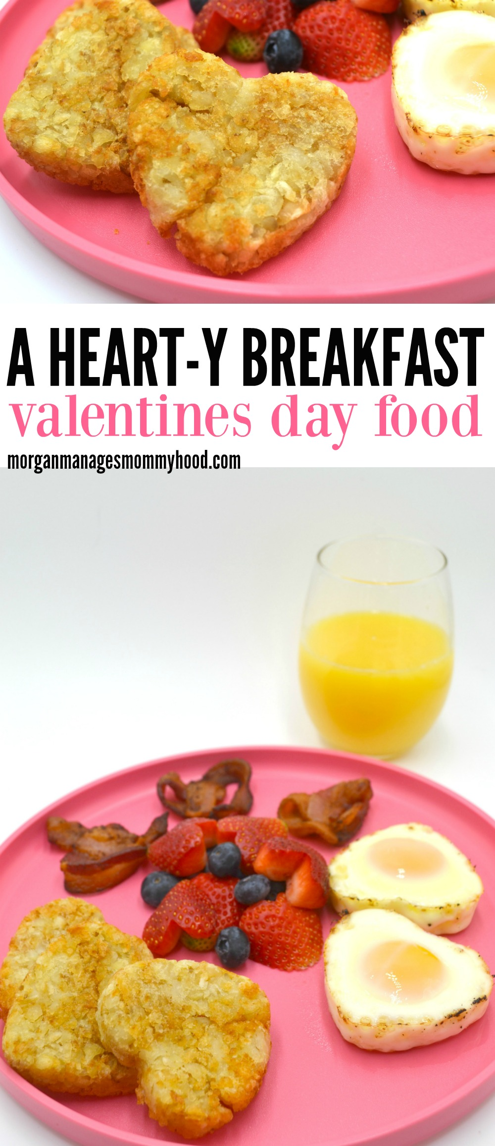 The perfect breakfast Valentines Day food - a HEART-y breakfast made with lots of heart! This valentine's day breakfast is the perfect way to show you care without  the work. #valentinesday #funfood #funkidfood