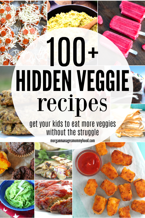 a pinable collage of hidden veggie recipes with multiple hidden veggie images and the words 100+ hidden veggie recipes