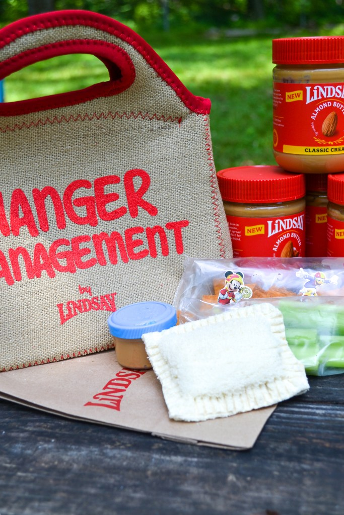 a burlap lunch bag with hanger managements on it with a packed lunch in front
