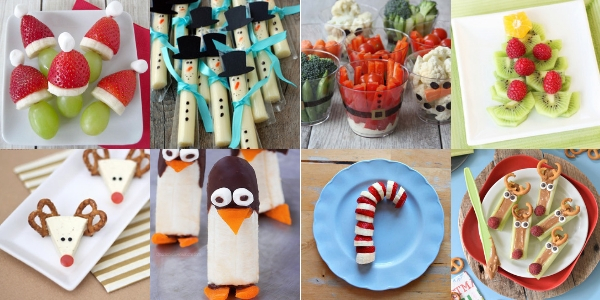 A collage of thumbnails of 8 healthy Christmas snacks from grinch kabobs to helathy reindeer celery sticks