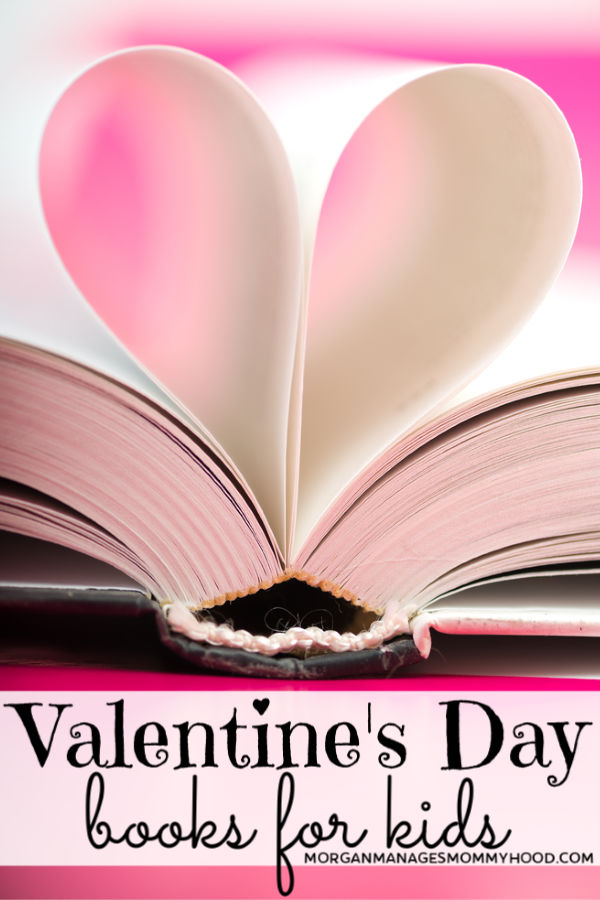 pink pages of a book curved into a heart shape with the words Valentine's Day books for kids one it
