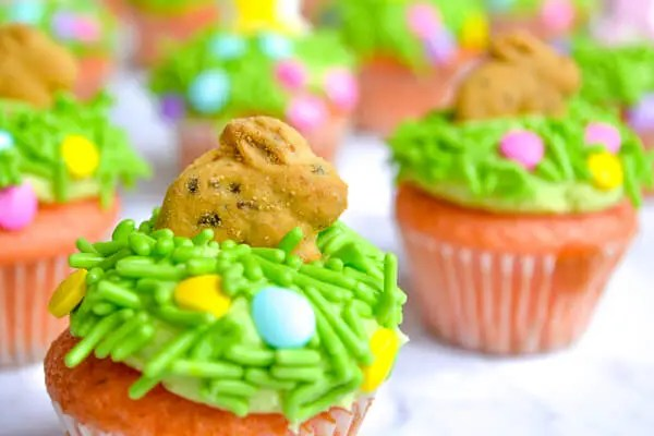 mini strawberry cupcakes topped with green sprinkles and pastel candy eggs and graham cracker bunnies