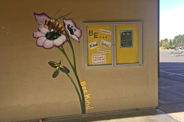 Bee Mural with Flowers at California School in the Bay Area