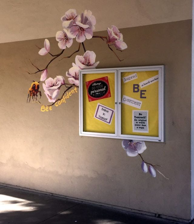 Apricot Blossom Mural with Bee