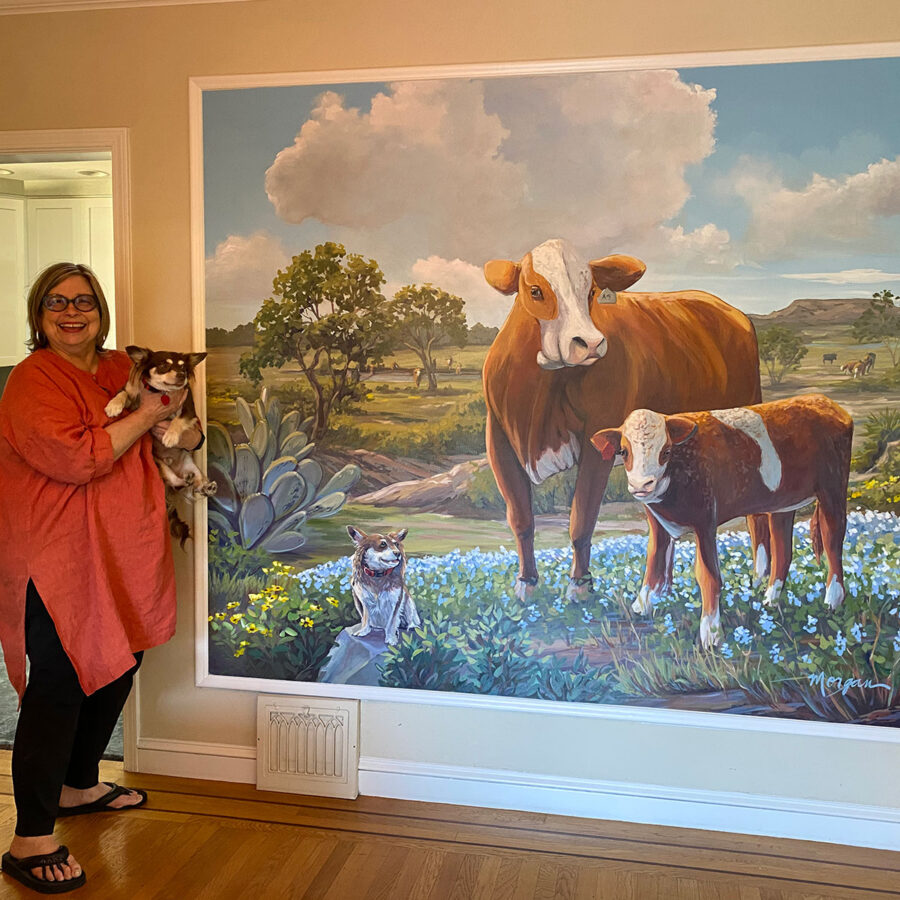 Cow and bull farm dining room mural
