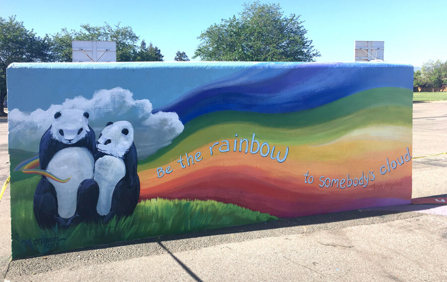 Mural with pandas represents the mascot at a Bay Area school