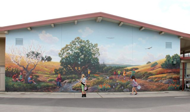 Hill and Landscape Mural at Springer Elementary School Bay Area