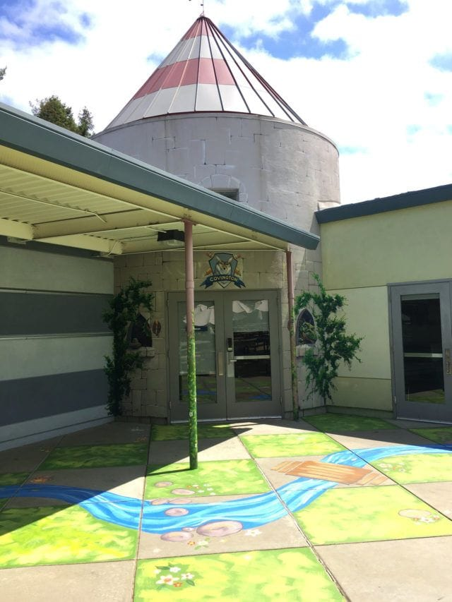 Library door mural and ground painting