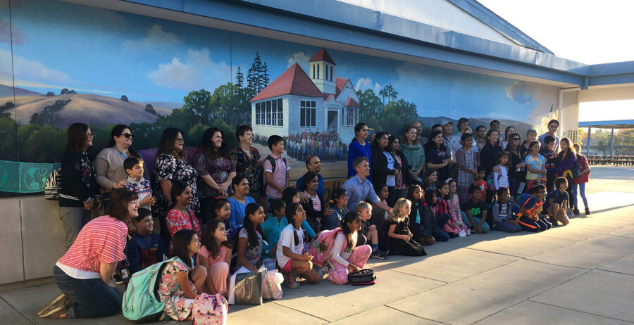 Kids Enjoying the New Landscape Mural at their Elementary School... I Love Creating Fun Spaces for our Youth!