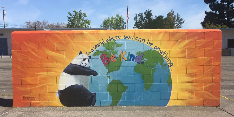 Handball Mural with a Panda Brings Color to the Schoolyard
