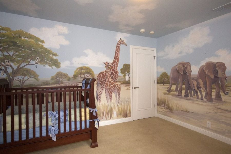 Africa Mural with Giraffes in Atherton Home