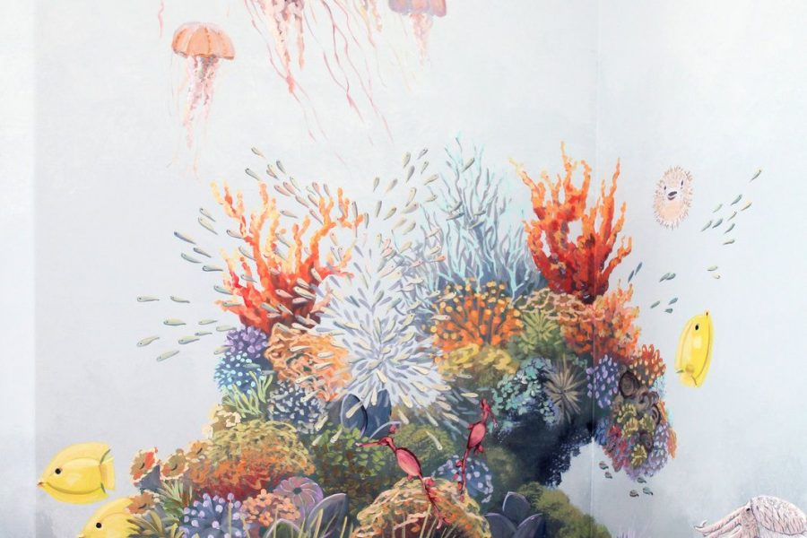 Colorful Jellyfish Mural with Coral